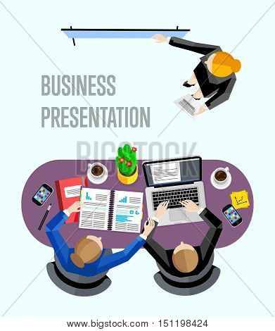Top view business presentation banner, vector illustration. Businesswoman making presentation near whiteboard in office. Business seminar or training. Board meeting in office.