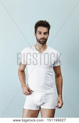 Man posing in underpants portrait -in studio