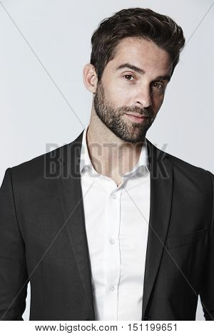 Smooth dude in black suit jacket portrait