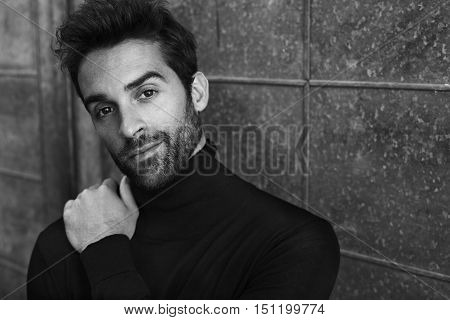 Black and white dude in sweater portrait