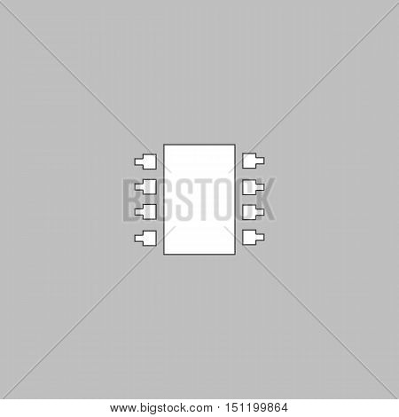 Microchip Simple line vector button. Thin line illustration icon. White outline symbol on grey background