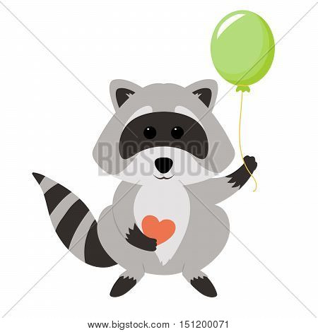 Funny raccoon holding heart and balloon isolated on white background. Adorable vector raccoon. Cute cartoon pet. Charming baby raccoon.