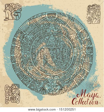 Vintage card with ancient maya calendar and ethnic ornaments on textured background. Pattern vector illustration and doodle drawing for design. Magic astrological symbols and mystic signs