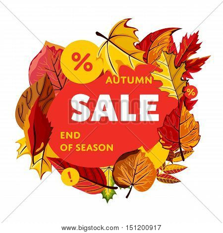 Autumn sale vector banner. Promo autumn offer. Autumn sale sticker. Autumn discount sticker. Discount tag. Autumn special offer banner. Sale sign. Web sale sticker. Autumn sale label. Ad sticker. Sale sticker template. Design autumn ad offer. Autumn sale.