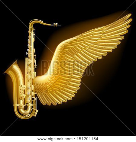 Gold saxophone with wing on black. Jazz music festival poster and concept design. Vector illustration