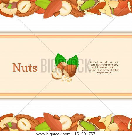 Round colored frame composed of different nuts brazil, cashew, peanut, pecan, pine, pistachio. Vector card illustration. Circle nuts frame with place for your text for packaging design element