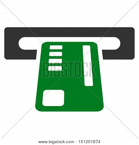Ticket Machine icon. Glyph style is bicolor flat iconic symbol with rounded angles, green and gray colors, white background.