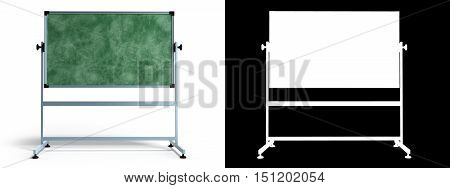 Green Chalkboard With Metal Frame 3D Render On White With Alpha