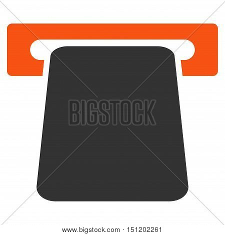 Bank ATM icon. Glyph style is bicolor flat iconic symbol with rounded angles, orange and gray colors, white background.