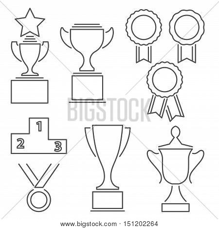 Set of award success and victory line icons with trophies stars cups ribbons rosettes medals medallions wreath and a podium
