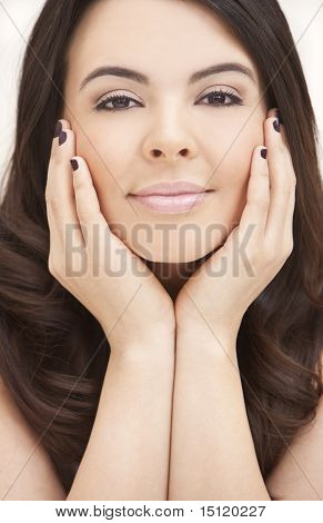 Beautiful Hispanic Woman Resting On Her Hands