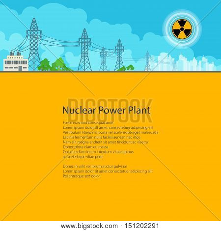 High Voltage Power Lines Supplies Electricity to the City , Electric Power Transmission, Poster Brochure Flyer Design, Text on Yellow Background, Radiation Sign, Vector Illustration
