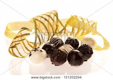 Golden Ribbon with Assorted Dark, Milk and White Chocolate Candies / Pralines / Truffles