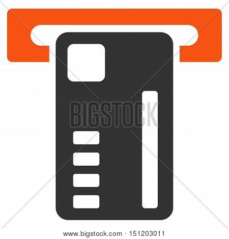 Ticket Machine icon. Glyph style is bicolor flat iconic symbol with rounded angles orange and gray colors white background.