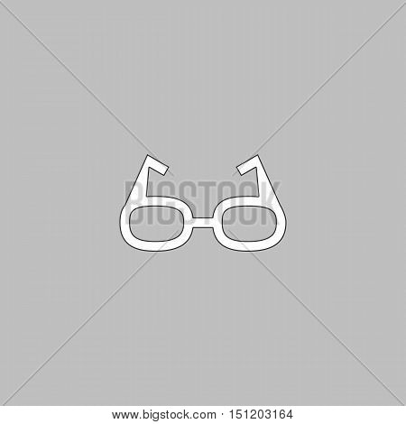 Glasses Simple line vector button. Thin line illustration icon. White outline symbol on grey background