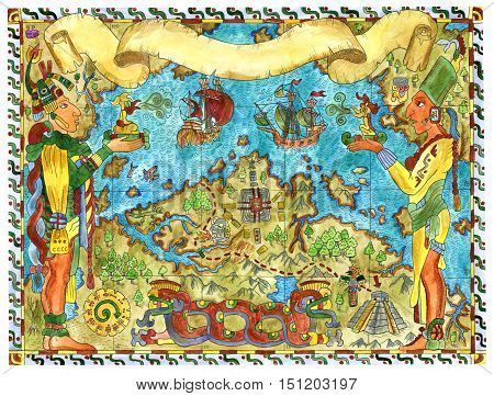 Colorful illustration with pirate map of maya and aztecs treasures. Vintage adventures, treasure hunt and old transportation concept. Drawings of people, ships, pyramid in American Indian style