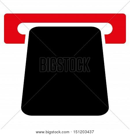 Bank ATM icon. Glyph style is bicolor flat iconic symbol with rounded angles, intensive red and black colors, white background.