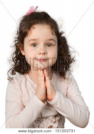 Little Girl Smiling with Hands on Chin, Isolated on Transparent Background