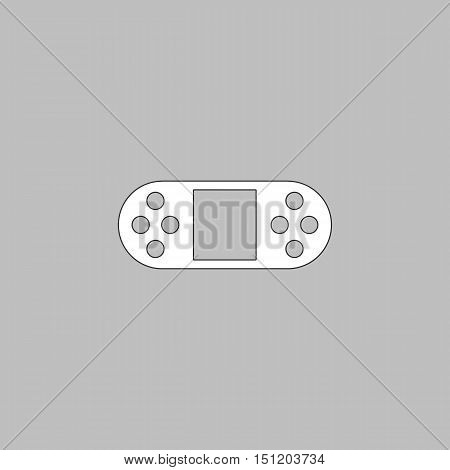 Game Console Simple line vector button. Thin line illustration icon. White outline symbol on grey background
