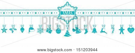Set of 15 Christmas icons, symbols hanging from a horizontal border with a snowflake containing the words Merry XMAS in the middle. In light blue isolated on white.