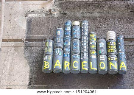 Tribute To Barcelona City In Sant Pau Street, Barcelona, Spain.