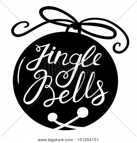 Jingle bells calligraphic hand drawn lettering.