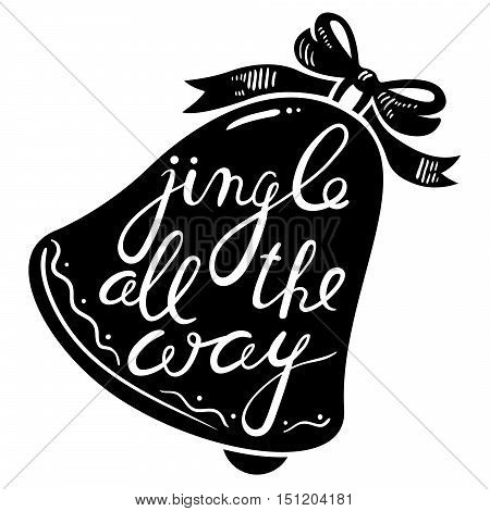 Jingle bells calligraphic hand drawn lettering. Christmas and New Year background with silhouette of bell with bow.