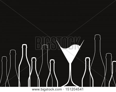 Cocktail Party Vector.Bar Menu Ilustration.Suitable for Poster.Invitation Card with Glasses.Alcoholic Bottles Background.Wine List Design.
