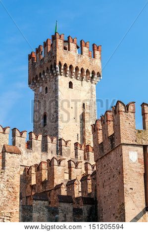 Scaligers castle of Sirmione at Garda Lake in the italian province of Brescia. Rock castle
