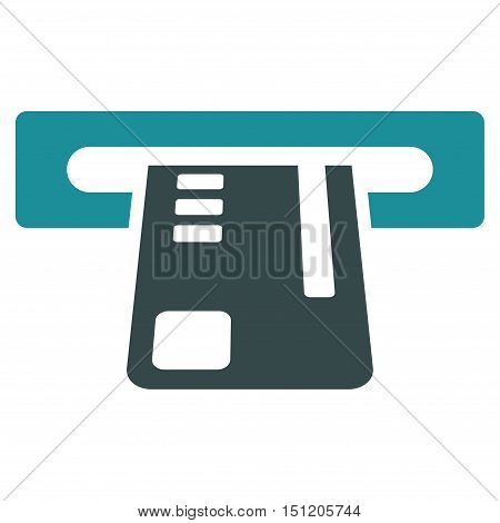 Ticket Terminal icon. Glyph style is bicolor flat iconic symbol with rounded angles, soft blue colors, white background.
