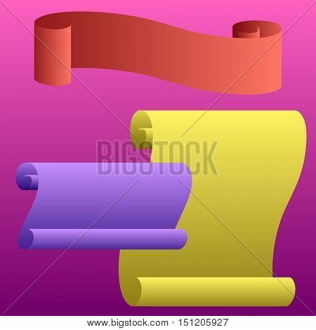 A set of scrolls and parchments. Three versions in different colors curved sheets of paper or parchment. Vector.
