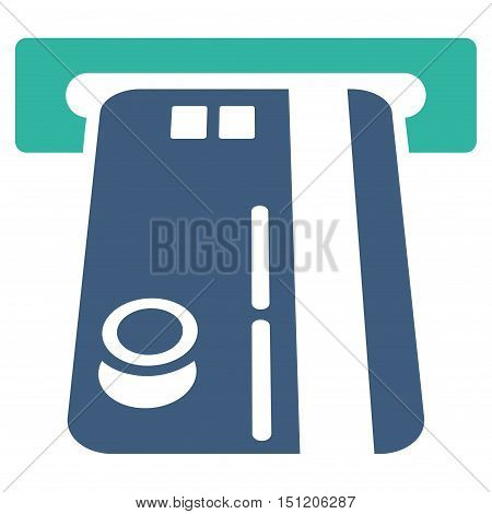 Bank ATM icon. Glyph style is bicolor flat iconic symbol with rounded angles, cobalt and cyan colors, white background.