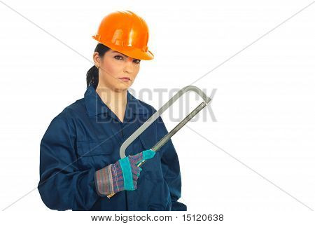 Constructor Worker Woman With Copy Space