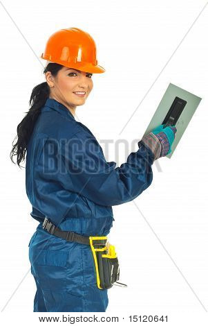 Happy Worker Woman With Notched