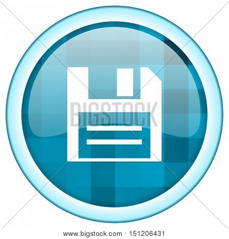 Blue circle vector floppy  icon. Round internet glossy disk button. Web design graphic element.