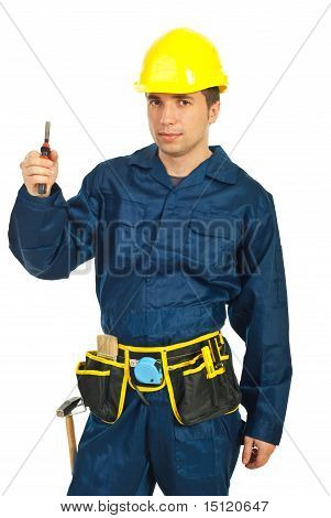 Constructor Worker Holding Pincers