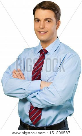 Friendly Businessman Standing with Arms Folded - Isolated