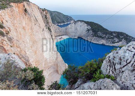 Clear waters of Navagio Shipwreck beach, Zakynthos, Greece