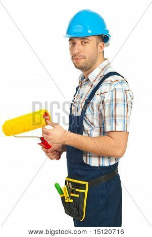 Worker Man Holding Paint Roller