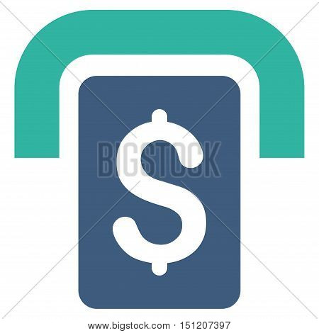 Cashpoint icon. Glyph style is bicolor flat iconic symbol with rounded angles cobalt and cyan colors white background.