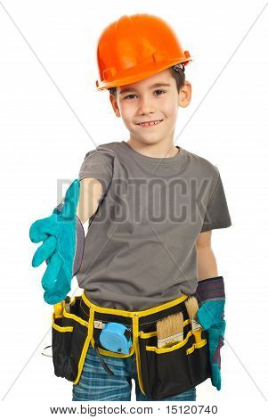 Small Worker Boy Give Hand Shake