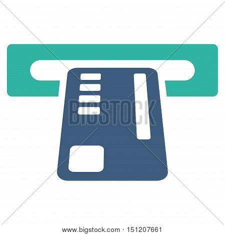 Ticket Machine icon. Glyph style is bicolor flat iconic symbol with rounded angles, cobalt and cyan colors, white background.