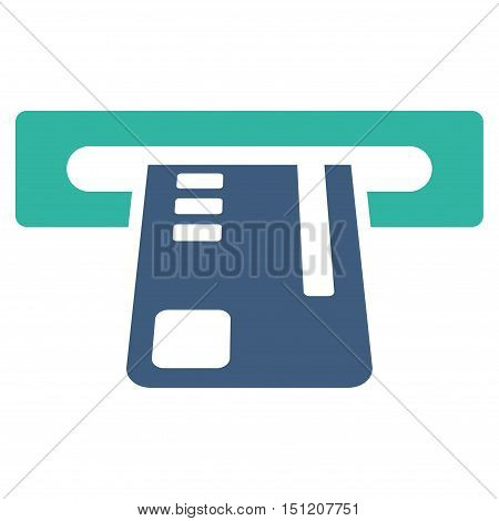 Ticket Terminal icon. Glyph style is bicolor flat iconic symbol with rounded angles, cobalt and cyan colors, white background.