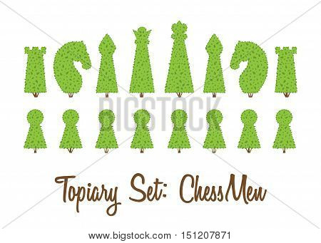 Topiary set of all chessmen shapes of bushes and trees: king queen pawn bishop rook knight. Green chess figure. Landscape gardening park game. Vector shrub and trees piece on white background.