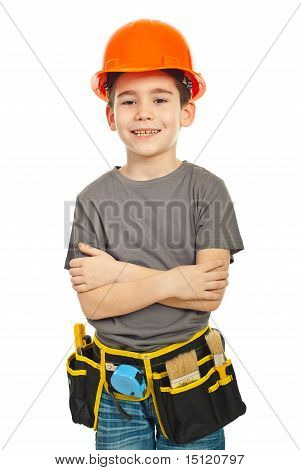 Happy Worker Boy With Arms Folded