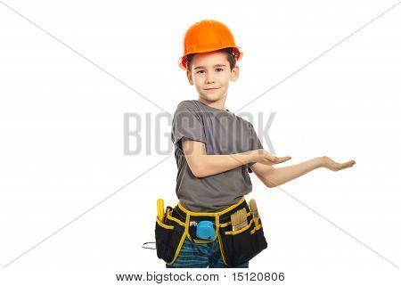 Small Worker Boy Making Presentation