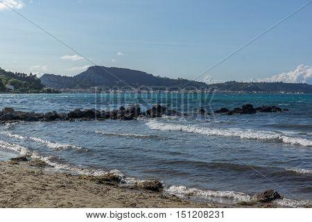 Panorama of Argassi beach, Zakynthos island, Greece