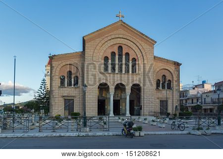 Frontal view of Cathedral of Saint Dionysios in Zakynthos City, Greece