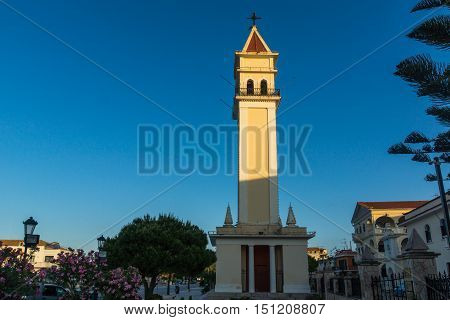 Sunset view of bell tower of Cathedral of Saint Dionysios in Zakynthos City, Greece