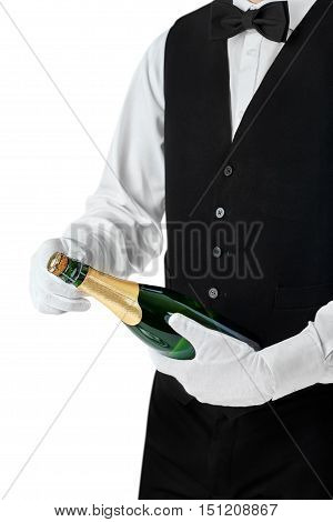 Professional Waiter Opening Bottle Of Champagne